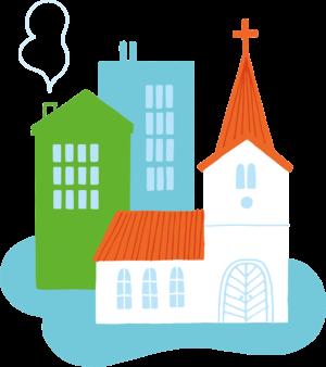 Illustration av kyrka och stad