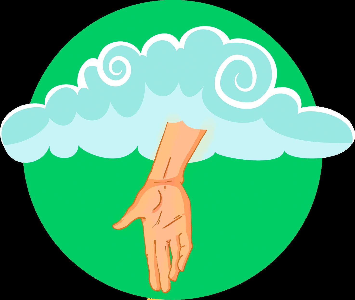 Illustration av en hand från himlen