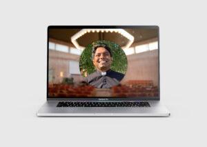 Dator med videopodgudstjänst på skärmen