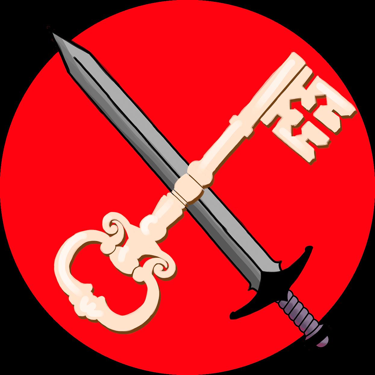 Illustration av ett svärd och en nyckel