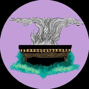 Illustration av ett altare och rökelse